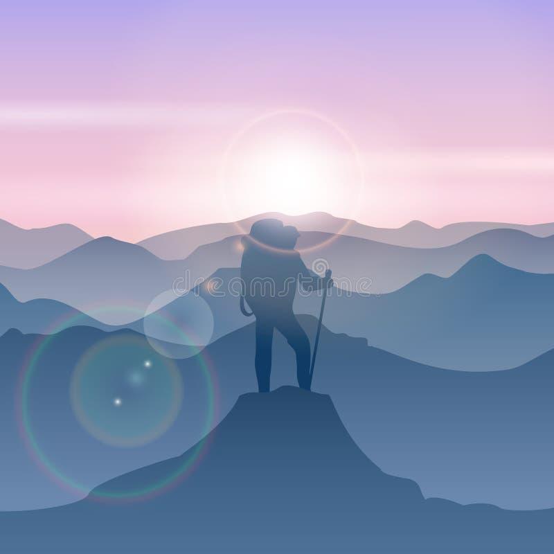 Человек стоит на горном пике Иллюстрация человека перемещения вектора иллюстрация вектора