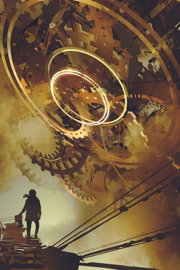 Человек стоя против много больших золотых шестерней иллюстрация вектора