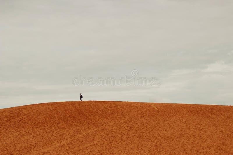 Человек стоя самостоятельно na górze песчанной дюны стоковые фотографии rf