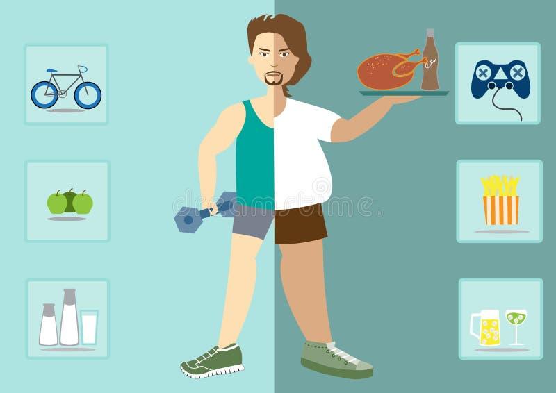 Человек существует перед и после диетой, здоровым образом жизни иллюстрация вектора