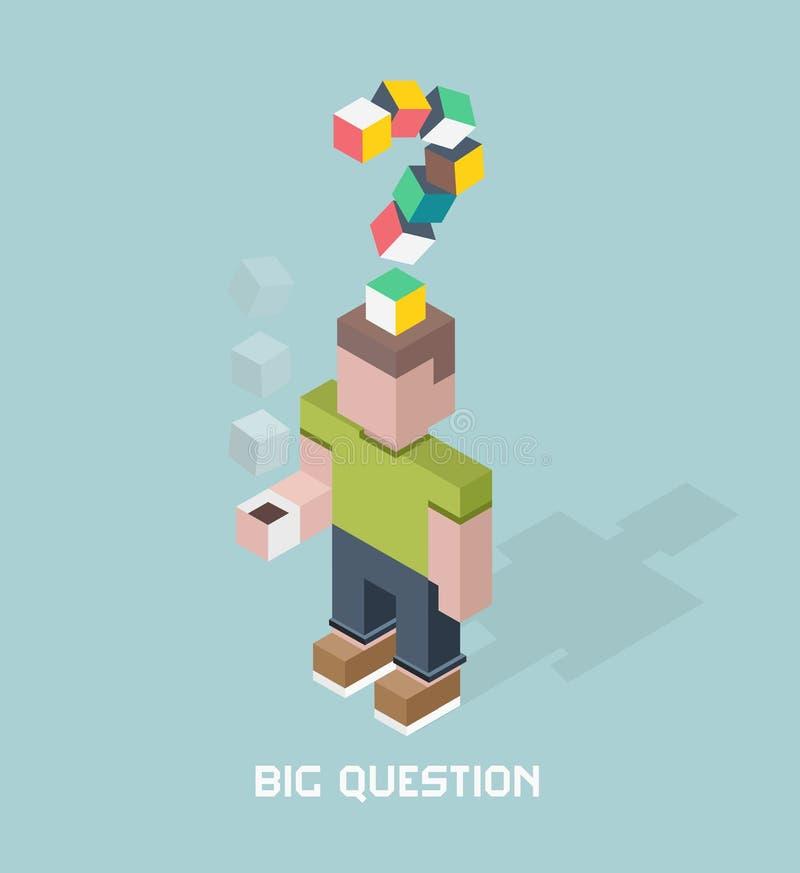 Человек с большим вопросом сомневается, иллюстрация вектора состава кубов равновеликая иллюстрация вектора