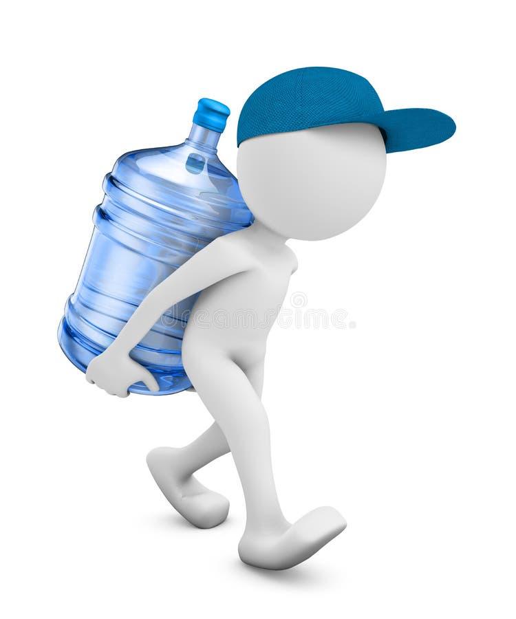 Человек с бутылкой очищенной воды иллюстрация вектора