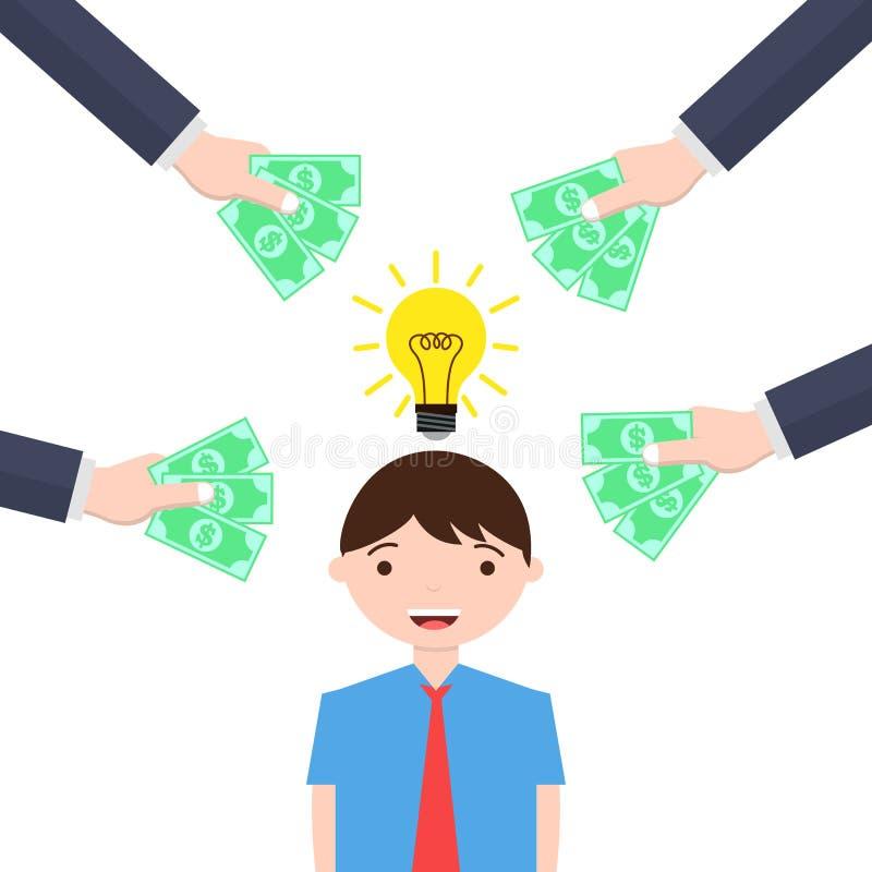 Человек с блестящей идеей получает предложения денег иллюстрация вектора