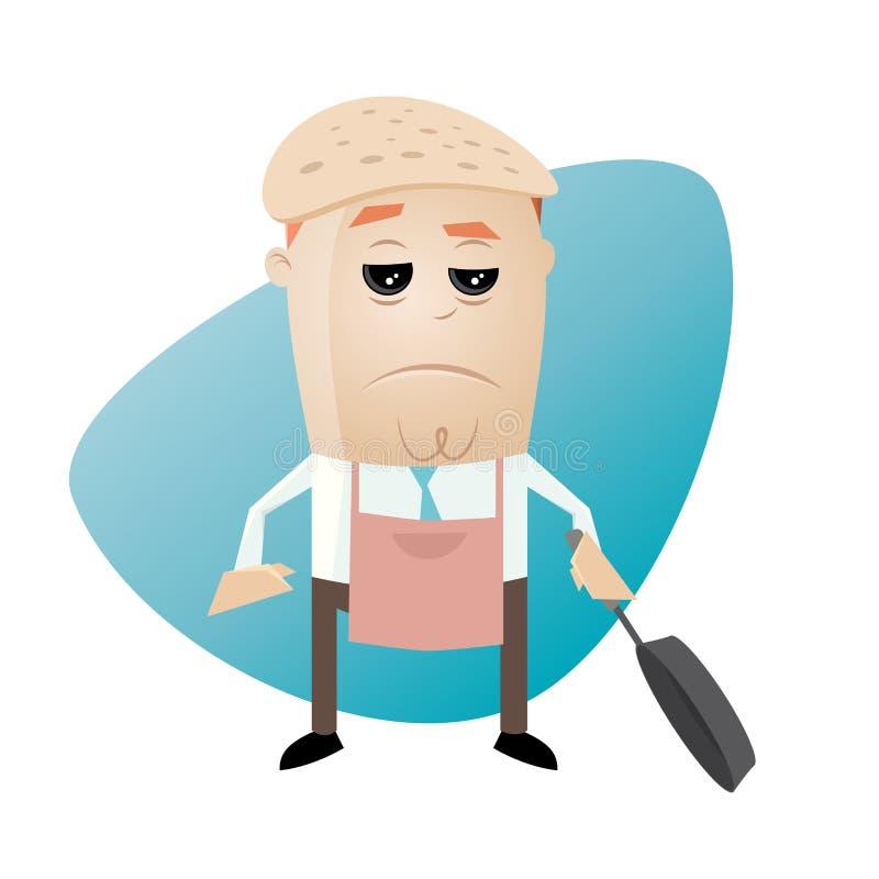 Человек с блинчиком на его голове бесплатная иллюстрация