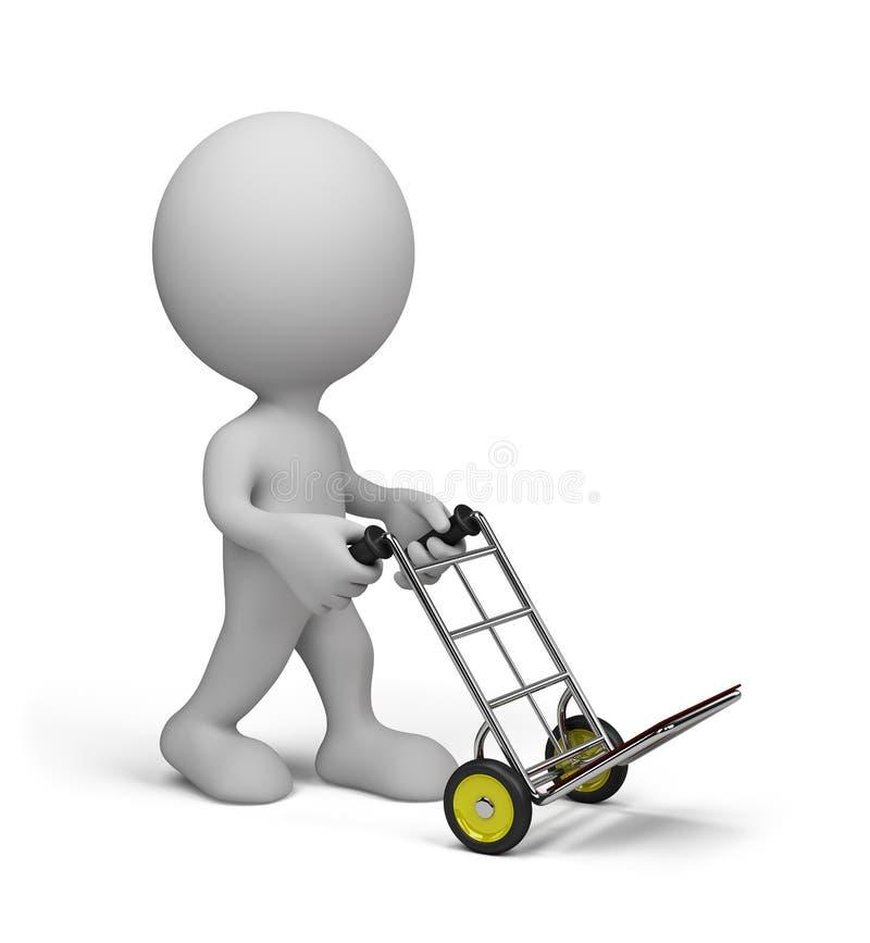 Человек с вагонеткой иллюстрация штока