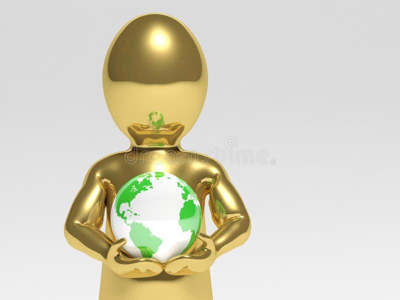 Человек с глобусом иллюстрация вектора