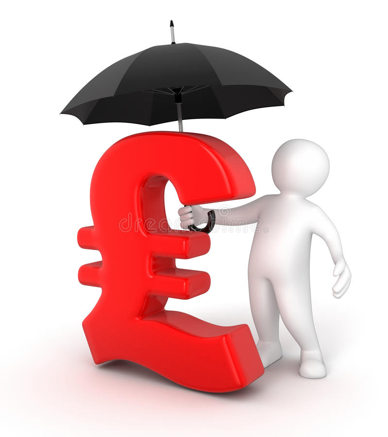Человек с знаком зонтика и фунта (включенный путь клиппирования) иллюстрация штока