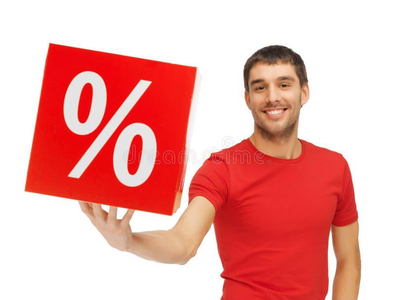 Человек с знаком процентов стоковые фотографии rf