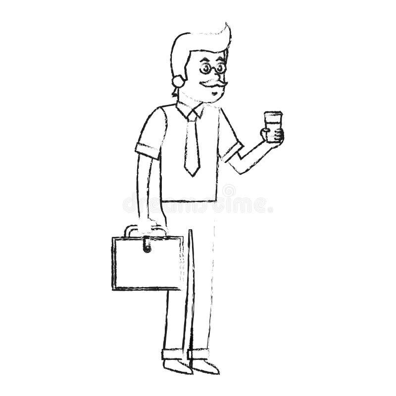 человек с дизайном кофе иллюстрация вектора