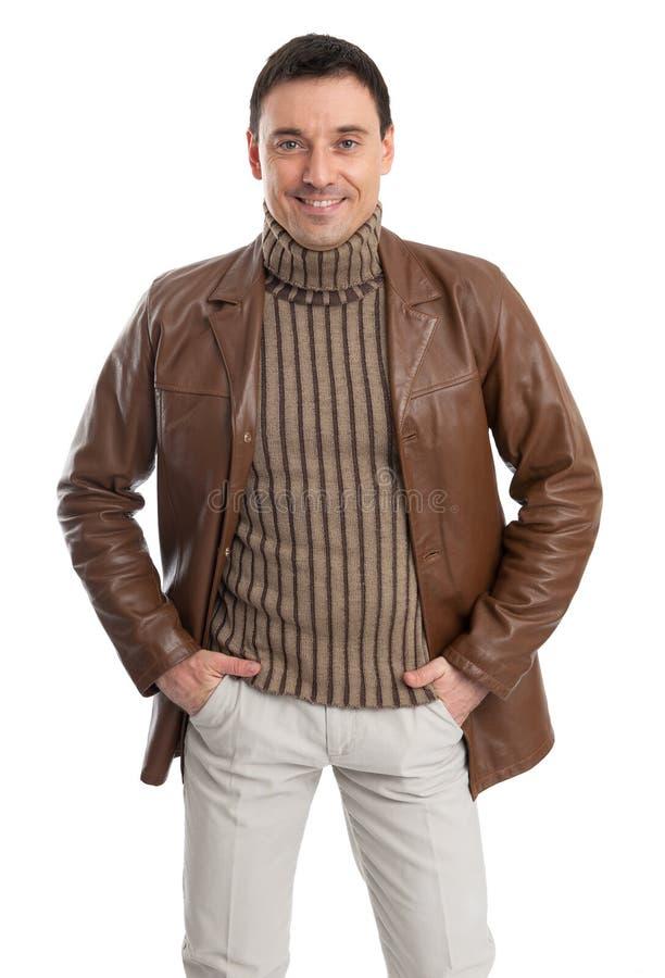 Человек с кожаной курткой стоковые изображения rf