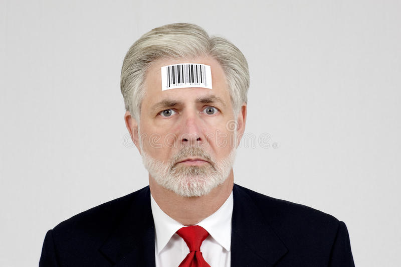 Человек с кодом штриховой маркировки стоковые фото