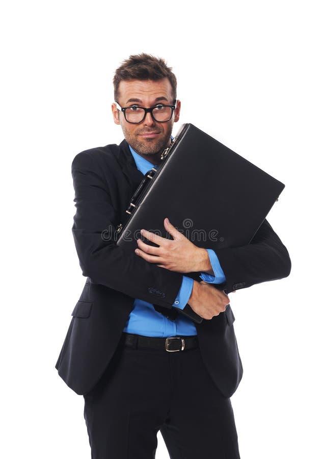 Человек с портфелем стоковые изображения
