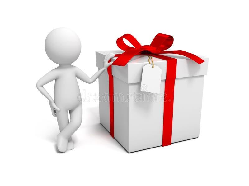 Человек с подарочной коробкой иллюстрация вектора