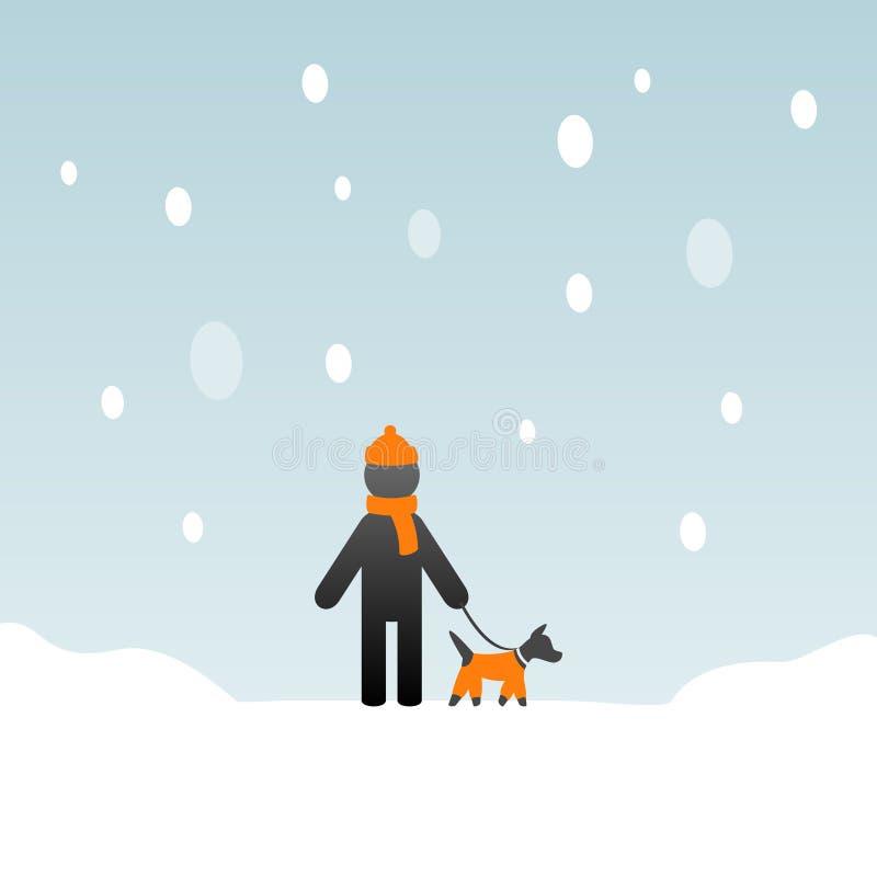 Человек с собакой в зиме иллюстрация вектора