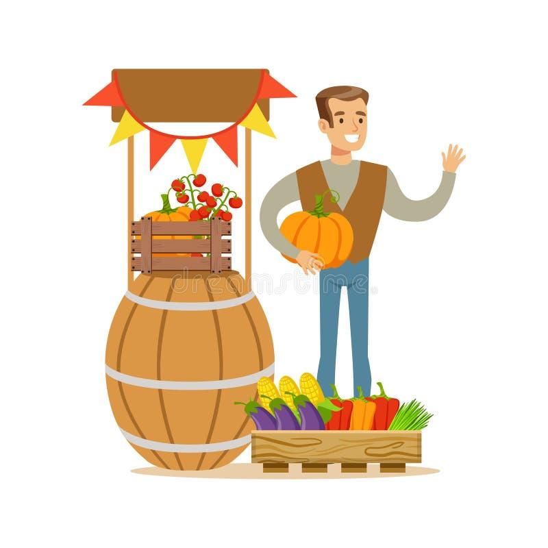 Человек с стойкой свежих овощей, фермер работая на ферме и продавая на естественном органическом товарном рынке иллюстрация вектора