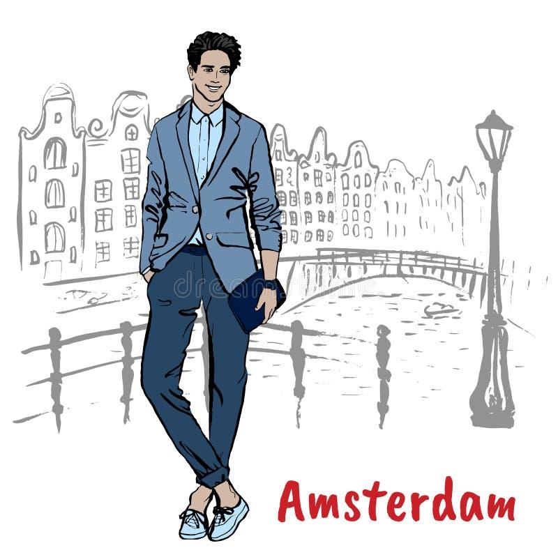 Человек с таблеткой в Амстердаме иллюстрация вектора