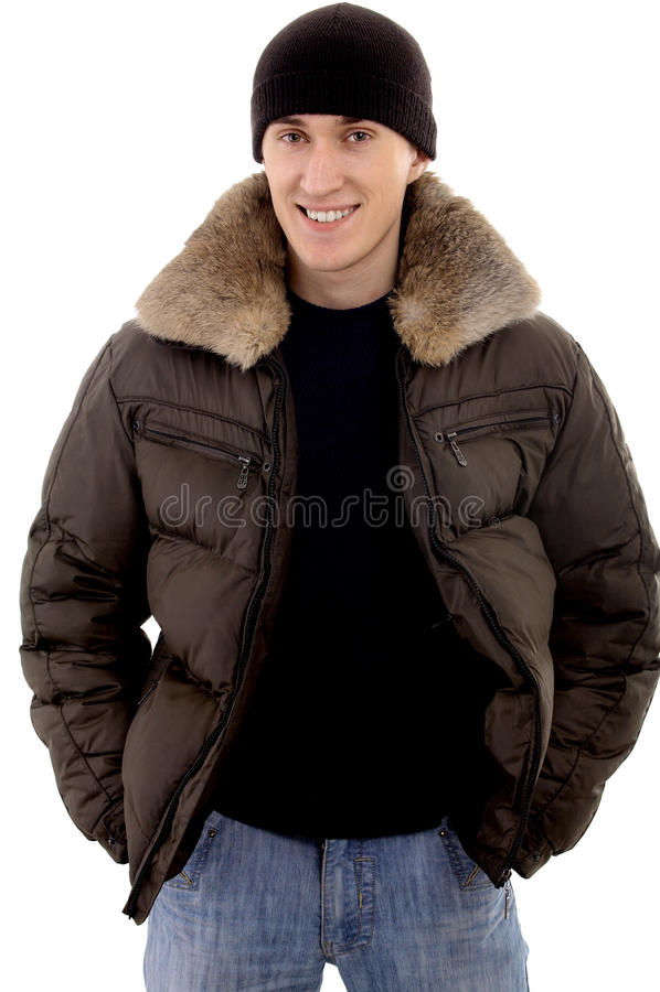Человек с теплой одеждой стоковая фотография rf