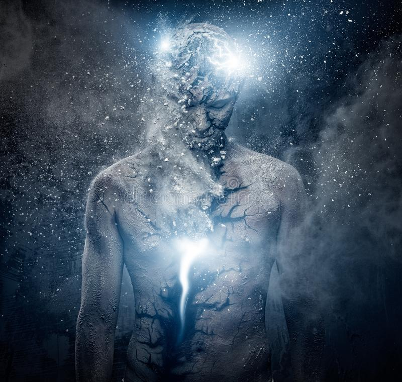 Человек с духовным искусством тела стоковые изображения rf