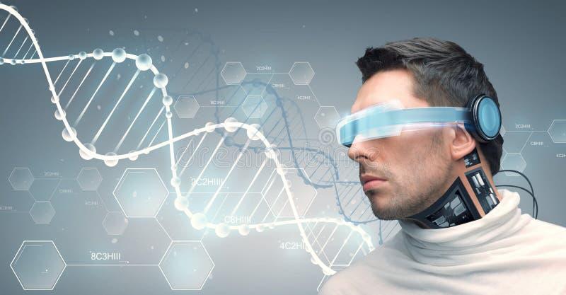 Человек с футуристическими стеклами и датчиками иллюстрация вектора