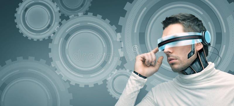 Человек с футуристическими стеклами 3d и датчиками иллюстрация штока