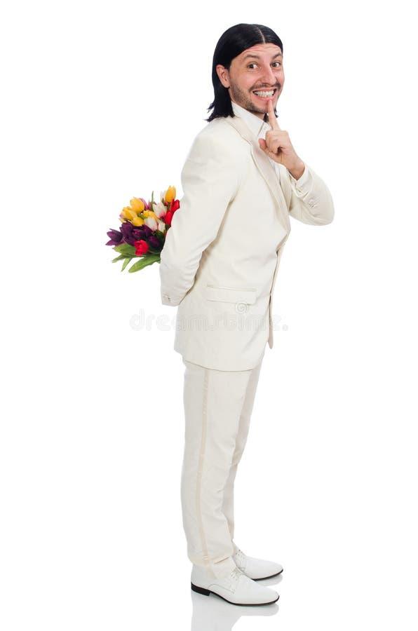 Человек с цветками тюльпана стоковая фотография rf
