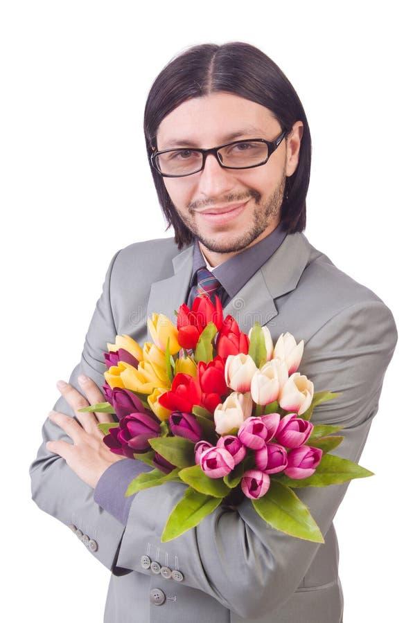 Человек с цветками стоковые изображения