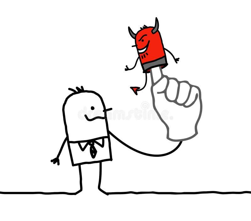 Человек с дьяволом марионетки на пальце иллюстрация штока