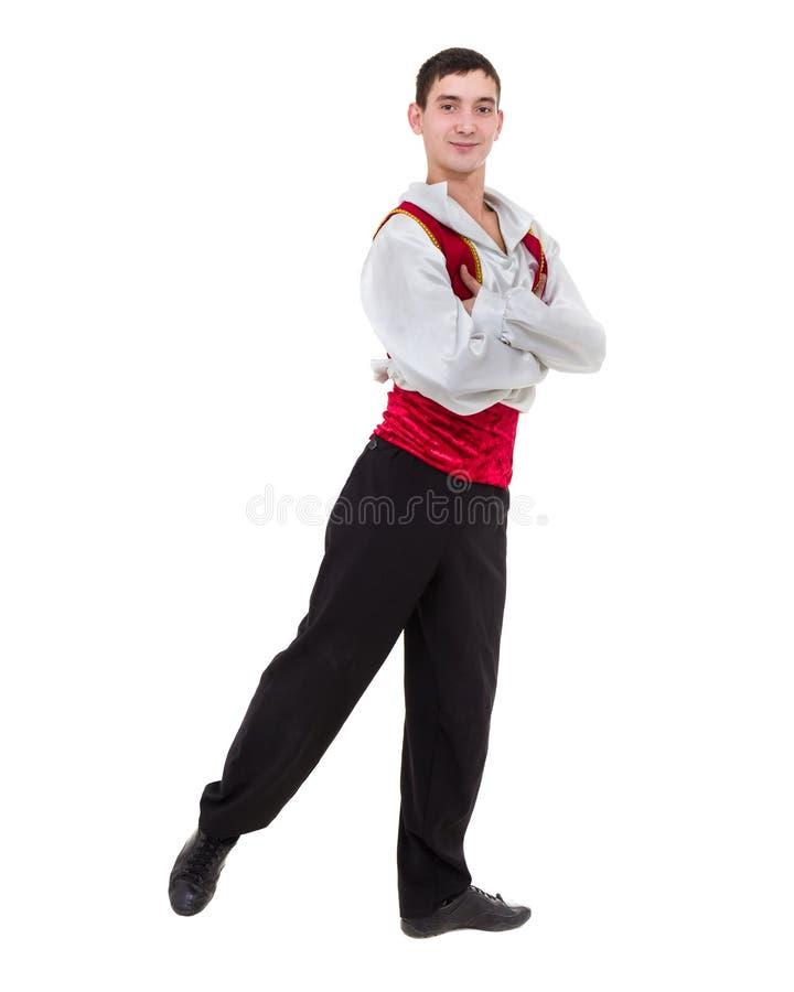 Человек танцев нося костюм toreador Изолированный на белизне внутри во всю длину стоковое изображение