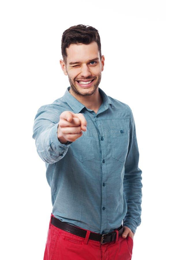 Человек указывая на вас Стоковые Фотографии RF