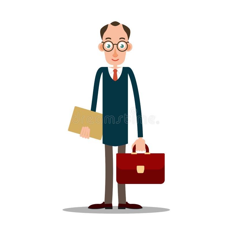 Человек учителя в стеклах с портфелем иллюстрация вектора
