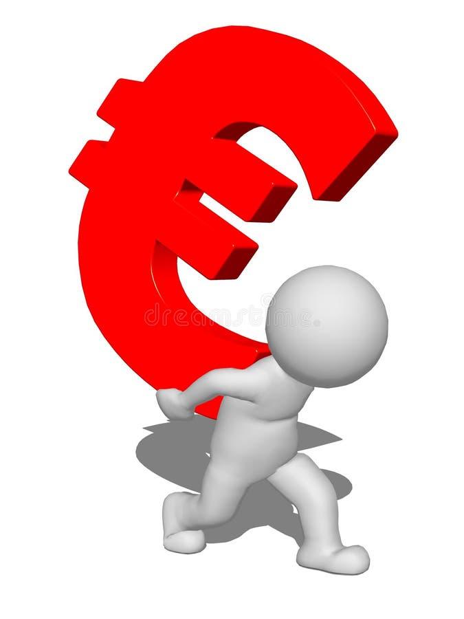 человек характера 3d нося красный знак евро стоковое фото rf