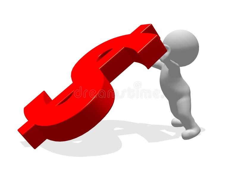 человек характера 3d подпирая вверх красный символ доллара стоковые изображения