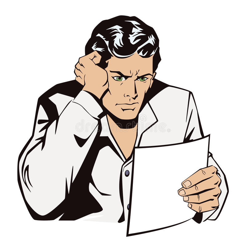 Человек читает документы Новости, и факты иллюстрация вектора