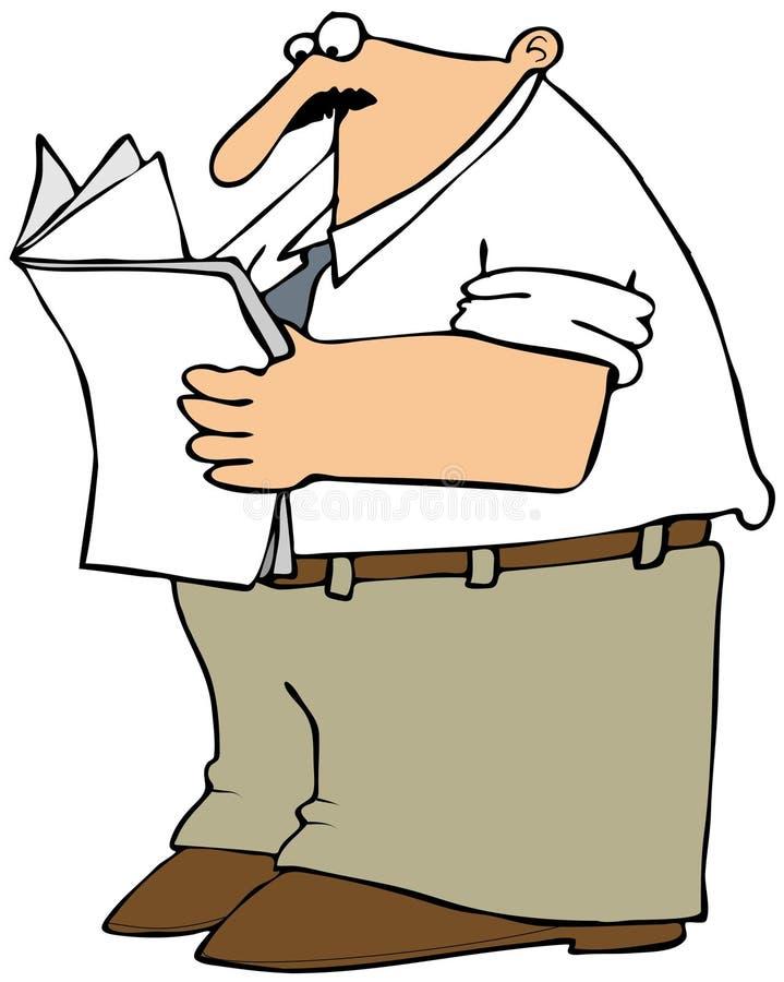 Человек читая газета Стоковые Фотографии RF