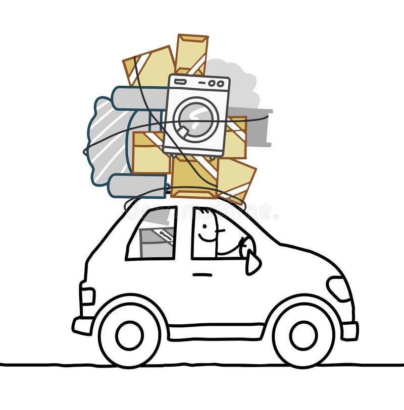 Человек шаржа двигая в автомобиль иллюстрация вектора