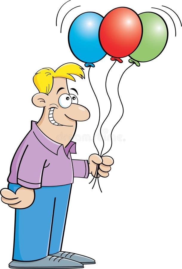 Человек шаржа держа воздушные шары иллюстрация вектора