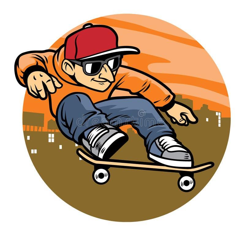 Человек шаржа делая фокус скачки скейтборда иллюстрация вектора