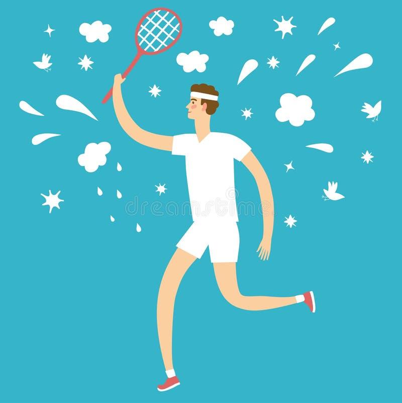 Человек шаржа играя теннис иллюстрация штока