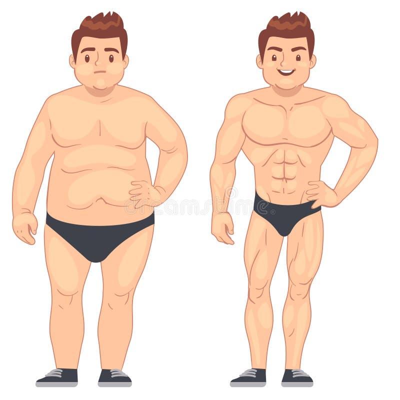 Человек шаржа мышечный и тучный, парень перед и после спорт потеря веса и концепция образа жизни вектора диеты иллюстрация вектора