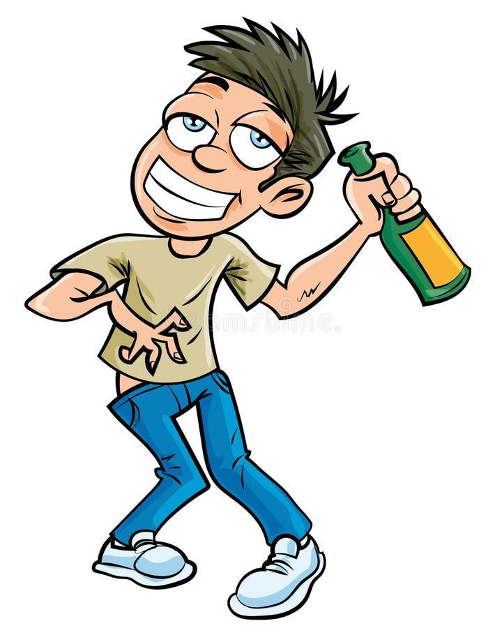 Человек шаржа пьяный с бутылкой шампанского иллюстрация вектора