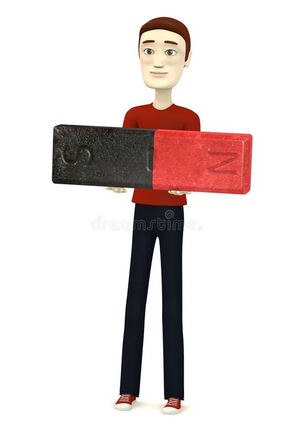 Человек шаржа с магнитом бесплатная иллюстрация