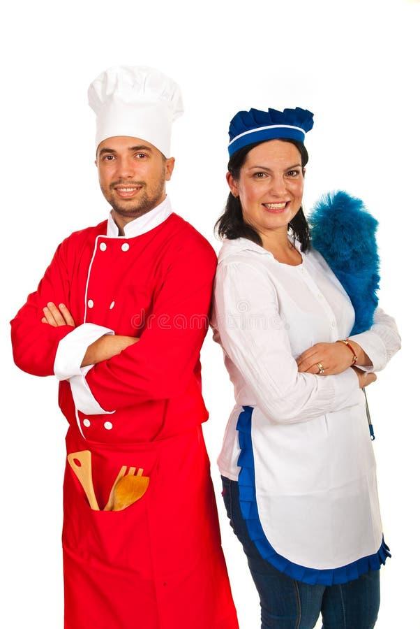 Человек шеф-повара и женщина горничной стоковое изображение rf