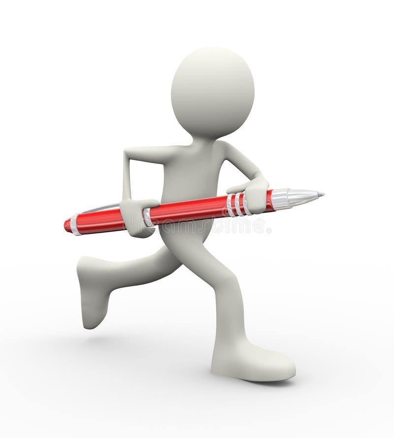 человек 3d бежать с ручкой иллюстрация штока
