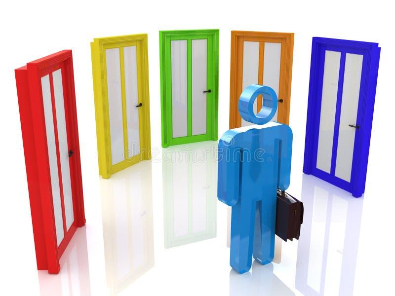 человек 3d выбирает дверь иллюстрация штока