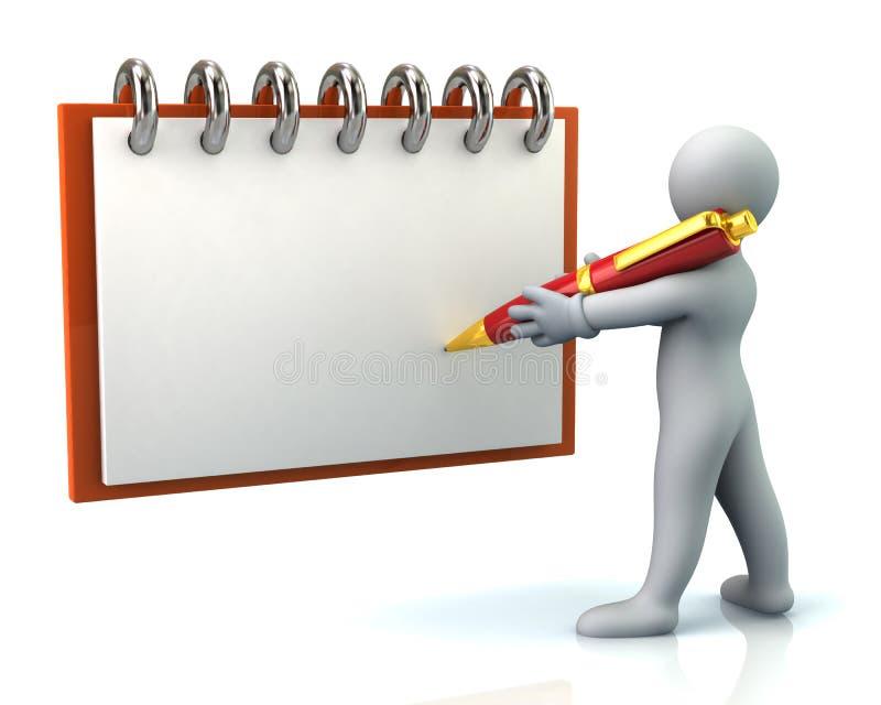 человек 3d держа большую ручку и запись бесплатная иллюстрация