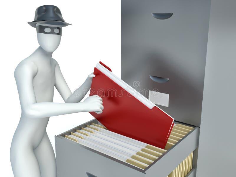 человек 3d крадя документы иллюстрация вектора