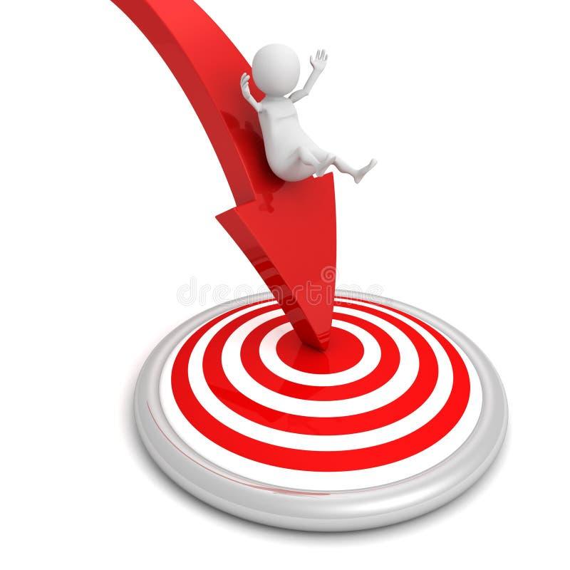 человек 3d достигает цели цели на красной стрелке иллюстрация вектора