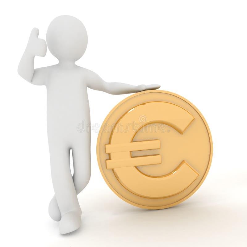 человек 3d полагается на евро иллюстрация штока
