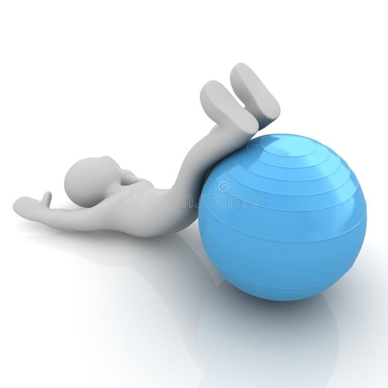 человек 3d работая положение на шарике фитнеса Мои самые большие pilates s бесплатная иллюстрация