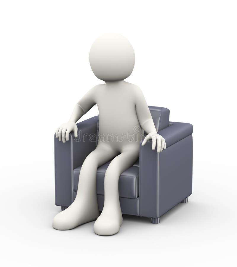 человек 3d сидя на софе иллюстрация штока
